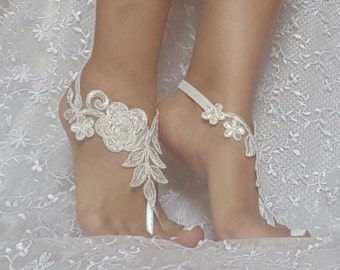 Wedding sandals  ivory beaded Beach bridal shoe wedding accessory barefoot sandals shoes prom party bangle beach anklets bridal