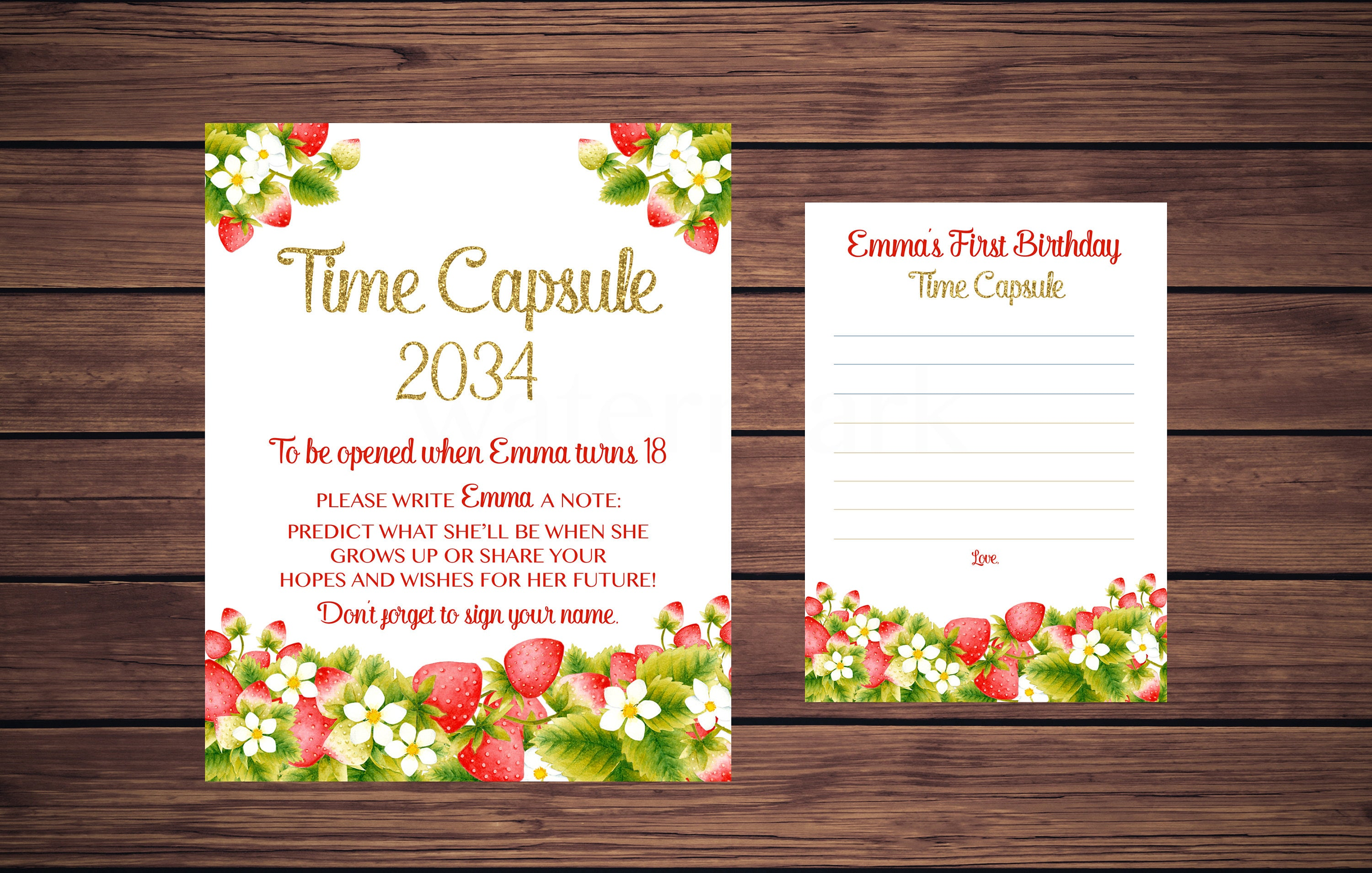 Strawberry Time Capsule Sign and Card First Birthday Time