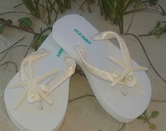 Toddler and Girls Destination Beach Wedding Starfish & Seashell Flower Girl Flip Flops