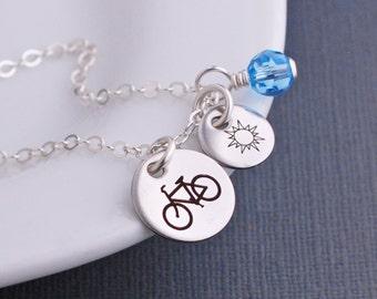 Custom Bike Necklace, Gift for Cyclist, Bike Charm, Bike Riding, Cyclist Jewelry