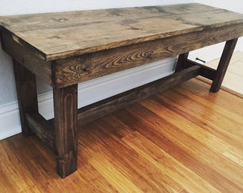 Rustic wooden bench; entry bench; foot of the bed bench; seating area