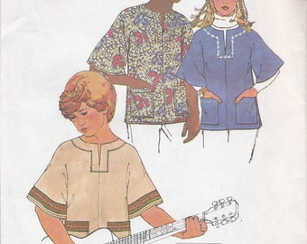 FREE US SHIP Simplicity 6864 Sewing Pattern JIffy Boy Girl Kimono Sleeve Bohemian Tunic top Size xsm,sm,med, large Factory Folded