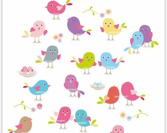 ON SALE birds clip art - Digital clipart, Bird society,cute animals clip art, Instant download clip art