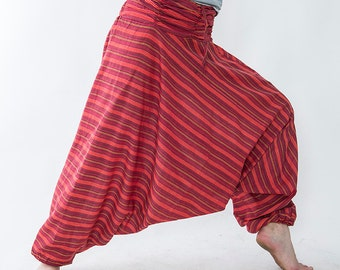 Harem pants unisex, striped red claret