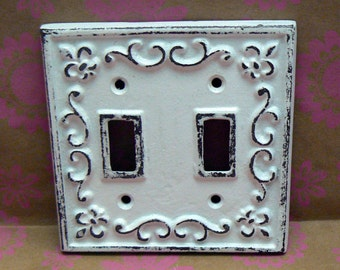 Fleur de lis Cast Iron FDL Light Switch Plate Cover Double Wall Shabby Elegance Distresse d Rustic French Decor White White