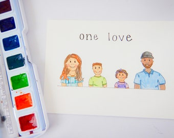 5x7 Watercolor Family Illustration,Whimsical Illustrations, Family Illustration, Family Artwork, Watercolor Illustrations