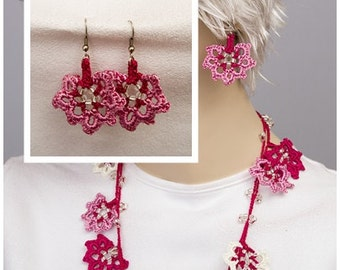 Beaded crochet necklace ,crochet earings