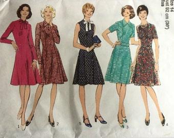 Sewing Pattern - dress pattern - Vintage Sewing Pattern -  1970s Pattern - Size 14, Bust 36, Sewing Patterns - Cut & Complete
