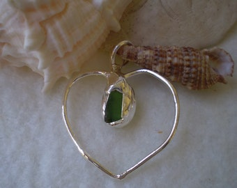 Sterling Silver and Sea Glass Heart Pendant