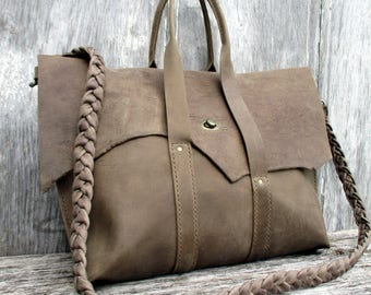 Leather Satchel - Leather Cross Body Bag - Rustic Taupe Handmade - One of a Kind - Leather Bag - Raw Edge Flap - Top Handle -by Stacy Leigh