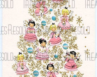 Retro Angel Christmas Tree Card #6 Digital Download