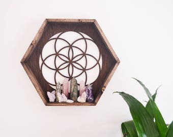 Seed Of Life Hexagon Shelf, Geometric Shelf, Triangle Shelf
