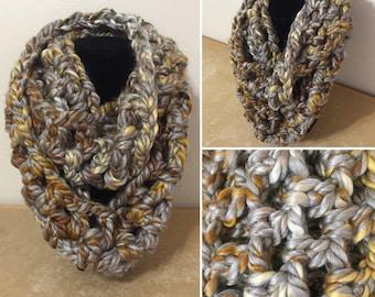 Crochet Gray/Gold Infinity Scarf