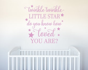 Twinkle Twinkle Little Star Do You Know How Loved You Are - Vinyl Wall Decor Decal Sticker - Nursery Children Baby Kids Bedroom Playroom