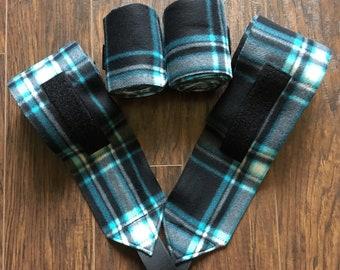 Black, Teal and white plaid polo wraps