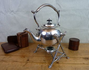 Victorian silver plated teapot on stand with nice integrated warmer - ACC623