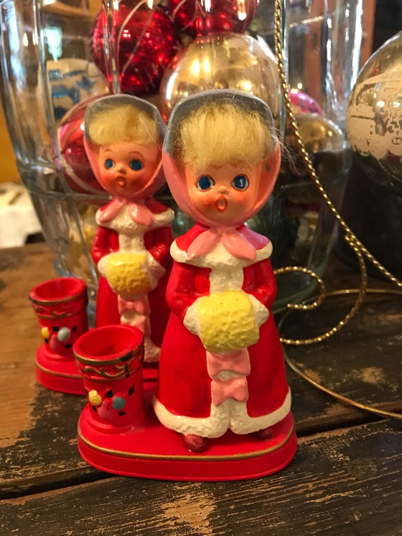 Vintage Napco Kitschy Big Eyed Girl Candle Holder Set Holidays or Everyday