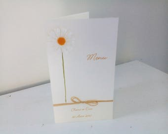 Decorated with daisies rustic wedding menu