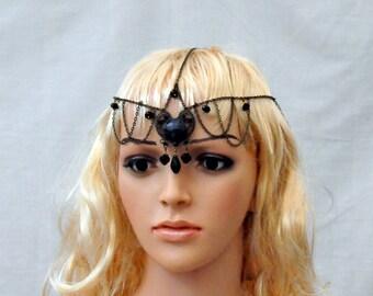 Negro cadena tocado, tocado de cabeza de cadena, headpices gótico, victoriano tocado, pelo accesorio nupcial headpices, joyería de pelo negro