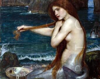 A Striking MERMAID Combs Her Red Hair. Vintage Mermaid Print. Pre Raphaelite Mermaid Art. Digital Mermaid Download.