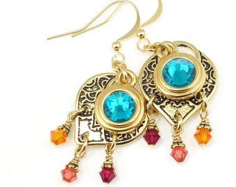 Colorful Dangle Earrings Gold Earrings Gift for Women - Made with Swarovski Crystal in Orange, Pinks, and Teal Blue - Gold Jewelry