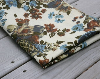 Vintage Fabric Decorator Cotton Floral Still Life Brown Blue Cream Olive Sewing Supplies Yardage
