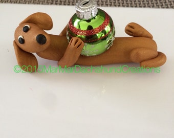 Red Dachshund Doxie Christmas tree ornament