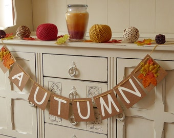 Autumn bunting banner, home decor rustic