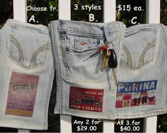 Denim bag, blue jean bag, ditty bag, cross body bag, recycled jeans