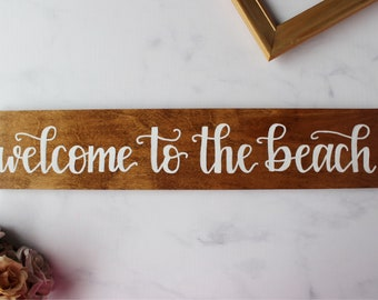 Wood Sign | Hand Painted | Hand Lettering | Welcome To The Beach | 4x20 | Rustic Sign | Home Decor | Indoor Sign | Housewarming Gift