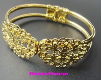25 % OFF- 2pcs Golden Plated  Filigree Cuff - Bracelet. Golden