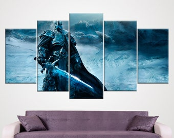 Wrath Of The Lich King World of Warcraft Video Game WoW Wall Art Framed Wall Canvas Home Decor Gifts For Gamers Fantasy Art Wall Hanging