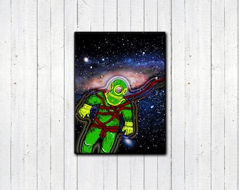 "Aqua Spaceman 8.5x11"", 11x14"" Print, Space Art, Funny Astronaut, Space Travel Print, Collage Print, Home Decor, Funny Artwork, Cartoon"