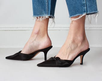 vintage pointy mules | black satin pointed toe heels, US 6.5 | EUR 37