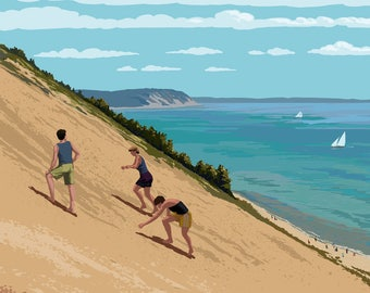 Michigan - Sleeping Bear Dunes - Lantern Press Artwork (Art Print - Multiple Sizes Available)