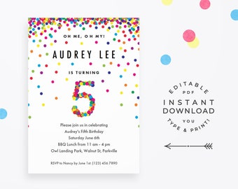 Rainbow 5th Birthday Party Invitation, Instant Download Printable PDF. Cute birthday invitations for 5 year old girl or boy!