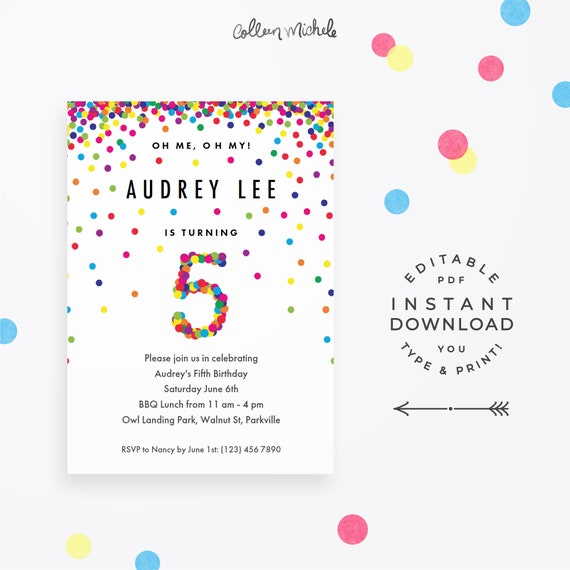 Rainbow 5th birthday party invitation instant download rainbow 5th birthday party invitation instant download printable pdf cute birthday invitations for 5 year old girl or boy filmwisefo Images