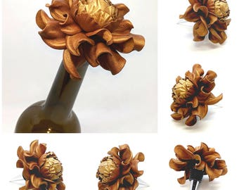 Best Gift Ever for Wine Lover! Flower Wine Bottle Stopper w/Leather Copper Gold Rose, Designed Stopper Wedding Favor, Metal Wine Cork Topper
