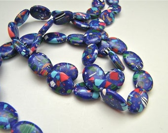 Resin Beads - 1 Strand - Blue or Purple Color Multi