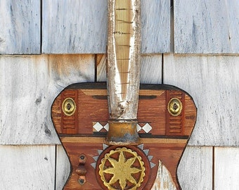 Guitar Art Assemblage, Found Objects on reclaimed wood, recycled Art, guitar player gift, Rustic wall Art, OOAK