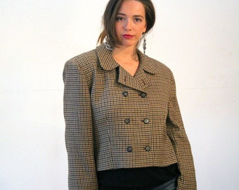90s Jones New York Blazer L, Cropped Brown Houndstooth Preppy Double Breasted Vintage Boxy Wool Women's Designer Jacket, Large