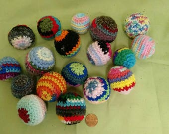 "Adorable ""Loose Ends"" crocheted cat toy balls with organic catnip.  Set of 3"
