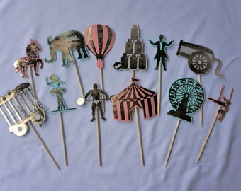 12x Circus Carnival Cupcake Toppers