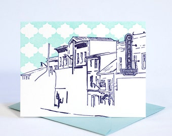 Ellicott City Maryland Letterpress Card | Main Street | purple & aqua single blank card with envelope