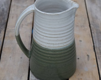Large Ceramic Jug / Pitcher with white and green stoneware glaze.