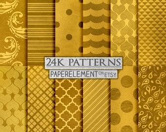 24K Gold Metallic Digital Paper: Gold Foil Art, Gold Patterns, Gold Graphics, Gold Polka Dots, Gold Hearts, Gold Stripes, Gold Damask
