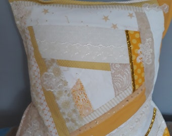 Crazy patchwork quilted cushion