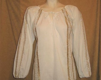 Blouse paysanne Style broderie or Helen Sidel 70 s Vintage