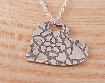 Hand Made Sterling Silver Etched Mandala Heart Necklace, Patterned Heart Necklace, Heart Pendant, Simple Necklace Gift, Etched Heart Pendant