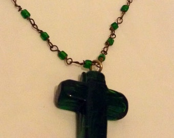 Antique Green Czech Glass Necklace, Bohemian Rosary, Crucifix Pendant, Long Chain